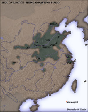 Ordos Plateau - Approximate area of Chinese civilization during the Spring and Autumn period. Note the extension up the Wei valley