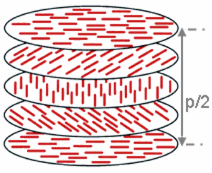 Cholesteric liquid crystal - The image shows a rotation of the director about 180° in a cholesteric phase. The corresponding distance is the half-pitch, p/2.