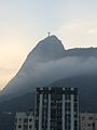 Christ the Redeemer covered by clouds.JPG