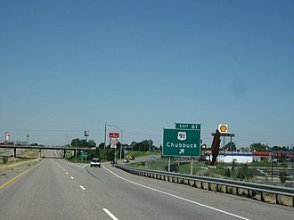Interstate 86 (Idaho) - The penultimate interchange on I-86, at U.S. Route 91 in Chubbuck