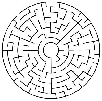Dual graph - A simple maze in which the maze walls and the free space between the walls form two interdigitating trees
