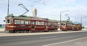 W-class Melbourne tram - City Circle trams on La Trobe Street