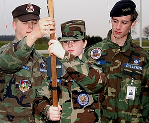 Indiana Wing Civil Air Patrol - Civil Air Patrol Cadet Senior Master Sgt. Bryce Bookwalter instructs a squad of Indiana CAP cadets in the use of equipment used to locate aircraft ELT signal devices, during a ground team training exercise.