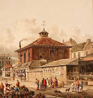 Joseph Grimaldi - Clare Market slum in 1815, by Thomas Hosmer Shepherd