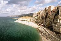 Cliffside dwellings in Tropea.