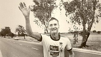 Cliff Young (athlete) - Young participating in the 1983 ultramarathon
