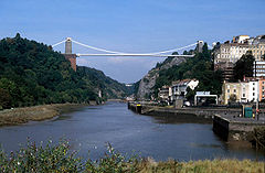 Rzeka Avon w Clifton, widoczny Clifton Suspension Bridge