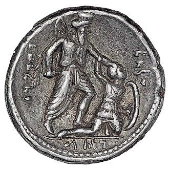 Wahbarz - Coin depicting Wahbarz killing a Greek foe.