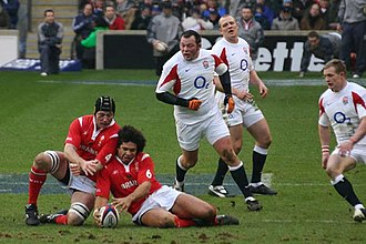 Colin Charvis - Charvis in action against England