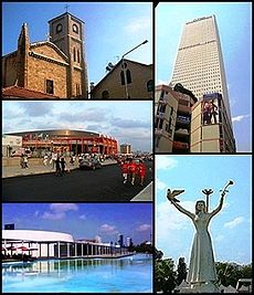 Clockwise frae tap: 1.Catholic Kirk o Mersin, 2.Mertim Touer, 3.Peace Memorial, 4.Mersin Congress an Exhibition Center, 5.Servet Tazegül Sportshall which is uised in 2013 Mediterranean Gemmes.