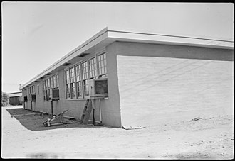 National Register of Historic Places listings in La Paz County, Arizona - Image: Colorado River Relocation Center, Poston, Arizona. New adobe school buildings erected at this cente . . . NARA 537281