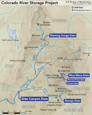 Colorado River Storage Project - Map showing the locations of CRSP dams and participating projects.