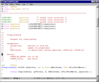 Text editor - Emacs, a text editor popular among programmers, running on Microsoft Windows