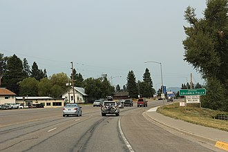 Columbia Falls, Montana - The sign for Columbia Falls on U.S. Route 2