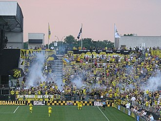 Columbus Crew SC - The Nordecke after Columbus scored a goal against the Chicago Fire in 2013