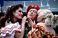 """Comedian Bob Hope, actress Brooke Shields, left, and country music singer Barbara Mandrell perform in a skit during """"Bob Hope's High Flying Birthday Extravaganza,"""" a television show - DPLA - 3c75dc331889fd48c97621df1eeeb696.jpeg"""