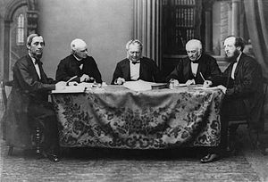 Civil Code of Lower Canada - A meeting of the codification commission around 1865. From left to right: Joseph-Ubalde Beaudry, Charles Dewey Day, René-Édouard Caron, Augustin-Norbert Morin, Thomas McCord.