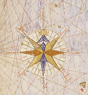 Catalan Atlas - Detail of Catalan Atlas, the first compass rose depicted on a map.