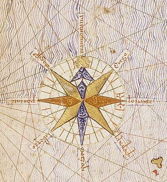 Compass rose - Image: Compass rose from Catalan Atlas (1375)