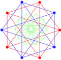 Compound dual 5-cells and bitruncated 5-cell intersection A4 coxeter plane.png