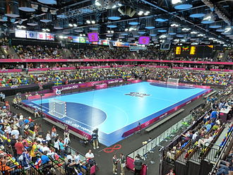 Copper Box Arena - The Copper Box interior before a handball game