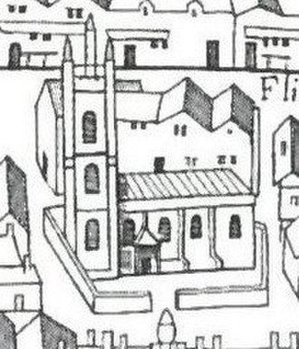 "St Bride's Church - The medieval church from the south, as it appears on the ""Copperplate"" map of London, surveyed between 1553 and 1559"