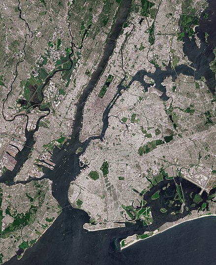 The core of the New York City metropolitan area, with Manhattan Island at its center.