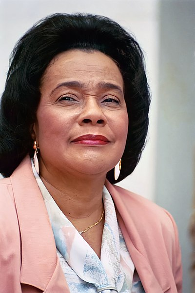 Coretta Scott King, American author, activist, and civil rights leader; wife of Martin Luther King, Jr.