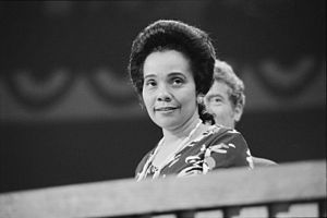 1976 Democratic National Convention - Coretta Scott King (the widow of Martin Luther King Jr.) attending the second day of the convention