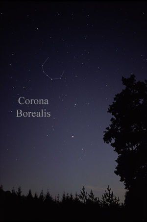 Corona Borealis - The constellation Corona Borealis as it can be seen by the naked eye