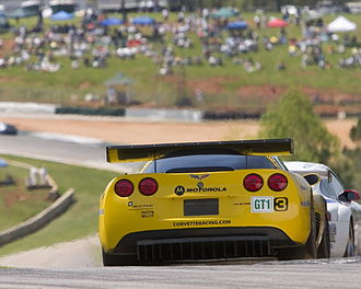 Chevrolet Corvette C6.R - A rear-view of a C6.R, showing the air conditioner exhaust fan located in the center of the bodywork.