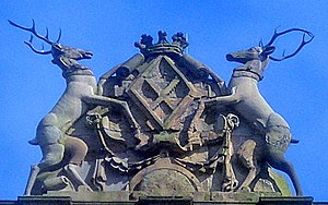 Bess of Hardwick - Arms of Elizabeth Hardwick displayed on parapet above main entrance of Hardwick Hall. The supporters two stags are those of the Cavendish family