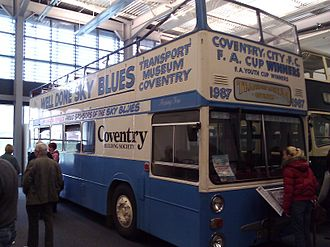 1987 FA Cup Final - The bus in which the victorious Coventry players paraded the cup through the city after their victory.  It is now on display in the Coventry Transport Museum.