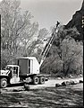Crane being used in pruning cottonwoods in Grotto Campground. ; ZION Museum and Archives Image 107 02 004 ; ZION 8410 (3217631acd1548a0adb119976159e68b).jpg