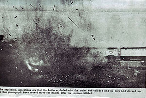 """Crush, Texas - The collision of the two trains at Crush, Texas. Note that the text reads, in part, """"Indications are that the boilers exploded after the trains had collided and the cars had stacked up."""""""