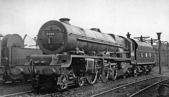 LMS Princess Royal Class - 6210 Lady Patricia at its birthplace, Crewe Works, in 1948, still in LMS livery and carrying its LMS number.