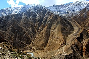 Humla District - The road descending from Nara La (pass) 4535 m Humla district, Nepal to the border of Tibet at Hilsa on the bank of Karnali River. The road is connected from Lake Manasarovar close by Mount Kailash in Tibet.