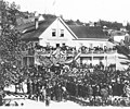 Crowd assembled in Occidental Square in front the Occidental Hotel for 1878 visit by President Hayes (misidentified as memorial for Garfield).jpg