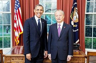 Cui Tiankai - Cui Tiankai with Barack Obama in the Oval Office, April 2013