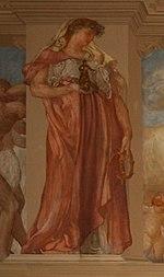 La dea Cupra degli antichi Piceni in un dipinto del De Carolis nel palazzo del Governo di Ascoli: nella mano sinistra la figura reca una tipica armilla