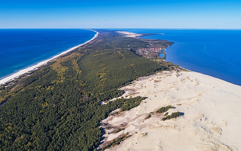 Curonian Spit in Kaliningrad Oblast (Russia). Aerial view over Epha Dune.