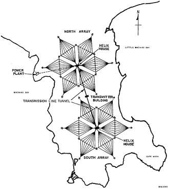 VLF Transmitter Cutler - Image: Cutler VLF antenna array site plan