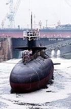DN-ST-90-11773 USS Barbel (SS-580) in SSK No.2 Dock 19881006