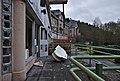 Damaged bathtub in front of an entrance to Sanatorium du Basil, Stoumont, Belgium (DSCF3511).jpg