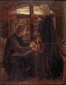 Dante Gabriel Rossetti - Mary in the House of John (1858).jpg