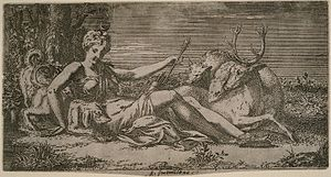 Léon Davent - Diana at Rest, after 1547, etching after Primaticcio.