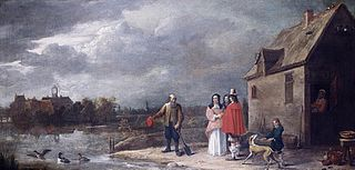 A Family Standing in a Landscape with a Moated House in the Background