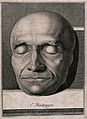 Death-mask of a man, possibly of C. Heidegger. Line engravin Wellcome V0042451.jpg