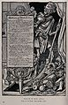 Death as an actor behind stage. Reproduction of a lithograph Wellcome V0042235.jpg