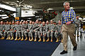 Defense Secretary Chuck Hagel enters the Army Aviation Museum to address soldiers during a question-and-answer session on Fort Rucker, Ala., July 10, 2014 140710-F-DT527-751c.jpg